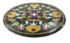 "Size 24""x24"" Green Marble Console Table Top Inlay Mosaic Christmas Home Decor"