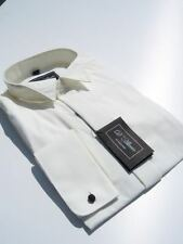 "£10 MENS IVORY CREAM WEDDING DRESS FLY WING COLLAR SHIRT 19.5"" PROM BALL CRUISE"