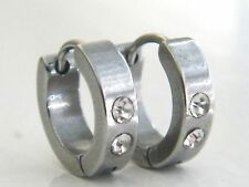 1 PAIR OF STAINLESS STEEL 316L HOOGIE HOOP CRYSTAL  EARRINGS MENS WOMENS