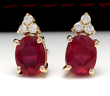 4.20ct Natural Red Ruby and Diamond 14K Solid Yellow Gold Earrings
