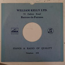 """78rpm 10"""" card gramophone record sleeve / cover WILLIAM KELLY barrow , blue"""