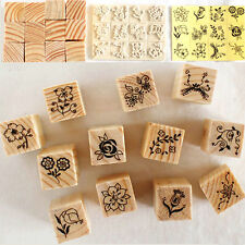 12Pcs/Set Retro Flower Lace Wooden Rubber Stamp Letters Diary Craft Scrapbook