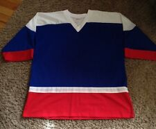 """USA HOCKEY COLORS  LONG SLEEVE HOCKEY  JERSEY  BY INDY KNITS. MEN""""S  LARGE"""