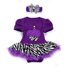 Baby Girls Newborn Headband Jumpsuit Romper Party Dress Outfit Tutu Clothes 3-6M