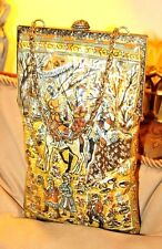 RARE 60'S VINTAGE DELILL SILK QUILTED VINYL-COATED TALL PERSIAN PRINT PURSE
