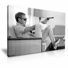 Steve McQueen with Gun Icon Black and White Modern Canvas Wall Art Print 76x50cm