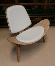 Hans Wegner Style Mid-Century Shell Chair White Leather