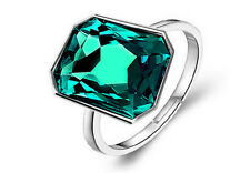 Crystal Emerald Green Shiny Crystal Silver Rectangle Stone Adjustable Ring FR176