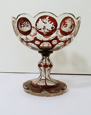 HAND BLOWN CUT RUBY STAIN BOHEMIAN ART GLASS COMPOTE/ FTD CANDY BOWL AIR BUBBLE