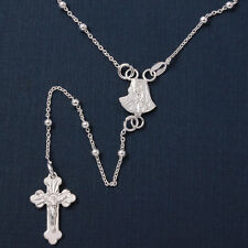 Sterling Silver Rosary Necklace w/ Religious Charm Mother Mary & Drop Cross
