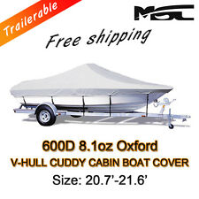 MSC 20.7-21.6ft 600D Marine Styled to fit V-Hull Cuddy Cabin Boat Cover Grey