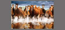 Thoroughbred Horses HERD CROSSING STREAM Beautiful Horse Action Wall POSTER