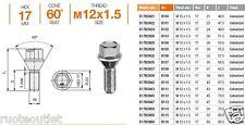 20 BULLONI X DISTANZIALI 12x1,5x35-39-45-50 CONICO K17 x NISSAN NOTE E MICRA