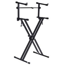 Pro Adjustable 2 Tier X Style Dual Keyboard Stand Electronic Piano Double New +