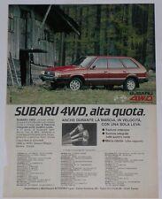 Advert Pubblicità 1982 SUBARU LEONE SW 4WD