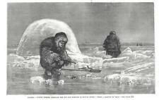 Indian Women Fishing Through the Ice for Tomcods in Kuyuk River, Alaska  -  1884