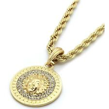 Mens 14k Yellow Gold Plated 24in Coin Medallion Medusa Rope Chain Necklace 3mm