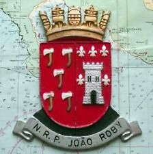 NRP JOAO ROBY  - Old Portuguese Navy Ship Metal Tampion Plaque Crest
