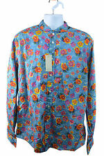 Eton Blue Shirt Bright Flower Pattern Size L RRP140 PURP66