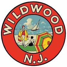 Wildwood By The Sea  NJ New Jersey 1950's  Vintage Looking  Travel Decal Sticker