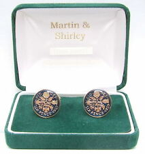 1959 6D cufflinks from real coins in Blue & Gold