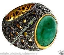 Victorian Vintage 3.75Cts Rose cut Diamond Emerald Sterling Silver Jewelry Ring