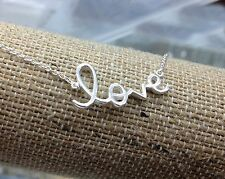 "925 Solid Sterling Silver Womens Script Word LOVE Necklace Pendant  16""-18"""