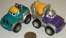 "Maisto Cars Cartoon Teal Pickup & Purple Cement Trucks 3"" USED"