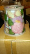 VINTAGE  PAINTED GLASS CLIP ON FLORAL LIGHTING SHADE SIGNED DIANA