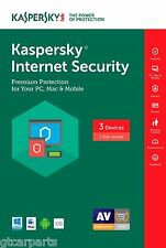 New Kaspersky Internet Security 2017 with Antivirus ( not 2016 ) 3 Devices 1 YR