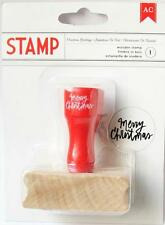 American Crafts All Wrapped Up MERRY CHRISTMAS Rubber Stamp w/ Wooden Handle