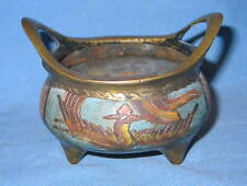 Antique Chinese Marked Painted Bronze Tripod Censer Signed A NIHO Censer