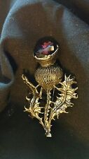 Vintage Miracle Amethyst Scottish Thistle Brooch