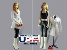 "1/6 Women Leather Trench Coat Set A For 12"" Phicen Hot Toys Female U.S.A. SELLER"