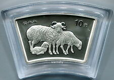 China 2003 Lunar Zodiac Goat Year Fan-shaped Silver Coin 1 oz 10 Yuan Genuine