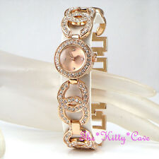 Ladies Rose Gold PL Designer Dress Double Kiss Bling Watch w/ Swarovski Crystals