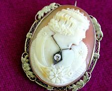 Antique 14K White Gold Carved Shell Cameo Brooch Pendant with Diamond Rare