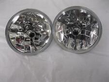 """7"""" Black Dot GLASS Tri Bar Headlights H4 Bright Fits Ford Chevy Nova 55 56 57 ++"""
