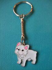 French Bulldog Charm Keyring Dog Puppy Metal Handmade Bag Key Ring Enamel White