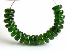 Natural Green Chrome Diopside Faceted Rondelle Gemstone Beads 5mm.