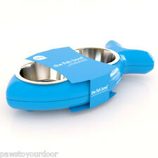 Hing Cat Bowl Kitten Fish Twin Stainless Steel Bowls Non Slip Food Water Blue