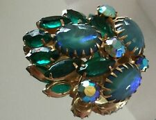 VINTAGE BROOCH OPALESCENT AURORA BOREALIS BLUE GREEN  FREE SHIPPING