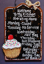 Black Sign CUPCAKE OVERLAY Kitchen Operating Hours Plaque Wood Wall Decor