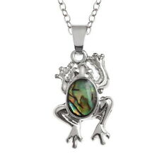 Inlaid Paua Shell Frog Pendant on Silver Chain Necklace - Two Tone