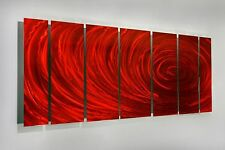 Red Contemporary Modern Abstract Painting Metal Wall Art Sculpture - Red Ripple