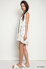UMGEE OFF WHITE Floral Embroidered Ruffle Dress/Tunic/Swim Coverup M L SASSY SKY