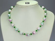 10mm white glass bead necklace, green pink paint, emerald green crystals, chain