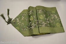 "Green Chinese Silk Brocade Table Runner Cherry Blossom & Bamboo Home Decor 90""L"