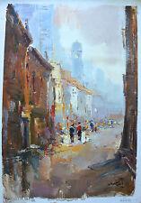 """Mani  ORIGINAL OIL PAINTING Paris """"Parisian Street Scene II"""" Canvas, Signed, COA"""