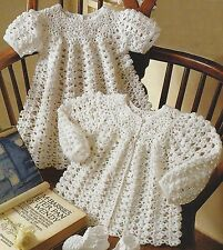 "Baby Crochet Matinee Coat, Dress, Shoes Pattern in 3ply 16-20"" 763"